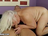 Busty granny gets some