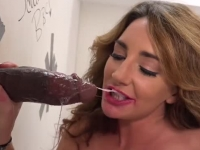 Savannah Fox puts a gloryhole dong inside her butt