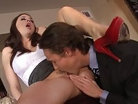 Filthy huge tits slut pussy ripped by the principal