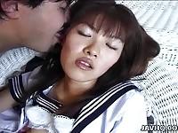 Sweet asian schoolgirl and older man