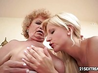 Sexy blonde dyke have pussy eating with a dirty old lady