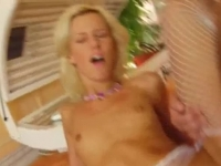 Sexy blonde Cora takes two cocks at the same time