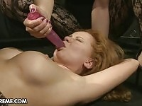 Poor busty pleaser gets her tight twat toyed wildly