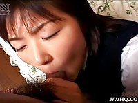 Sleepy young Japanese sucking