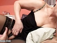 Fine old whore mounting young cock that arouses her