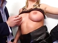 Blonde slut sucks and fucks 3 guys