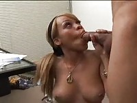 Horny office girl in action