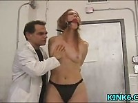Naughty blonde gets tied up and spanked