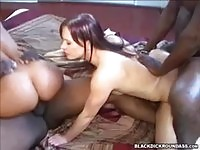 Two babes fucking black cock