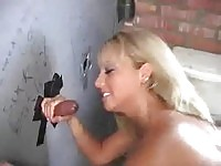 Busty slut in public toilet