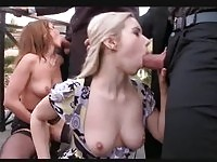 Gorgeous babes and busty divas in sizzling sex orgy