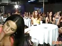 Brunette suckign in public