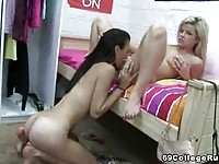 Blonde and brunette roommates lick pussy