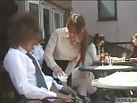 Charming Japanese waitress gives handjob in a crowded restaurant