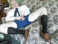 Mature man jacks off in his black socks