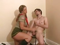 Naughty girl scout doing hand job