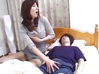 Asian horny babe sucking