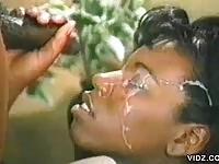 Ebony babe in cumshot movie