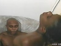 Ebony girl with nice tits rides hard cock