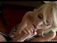 Blonde housewife sucks husband in floor