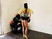 Midori in bee costume exposing