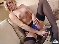 Sexy blonde Removes Her Blue Satin Panties