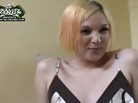 A chubby blonde giving head