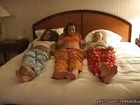 Three teens in pilloow fight