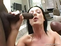 Melissa Lauren sucking two black guys