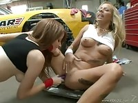 Ashley Jensen and Nikki Coxxx in garage action