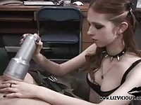 Redhead Liz using a fleshlight
