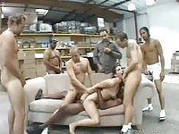 Bobbi Starr in wearhouse group sex