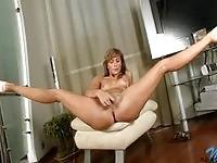 Sweet hot babe stripping and masturbating