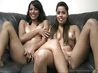 Crystal & Jane in masturbating casting action