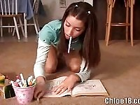 Pigtailed Chloe drawing and fingering