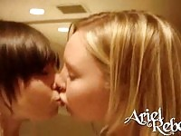 Sweet hot teen Ariel kissing her girlfriend