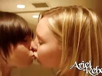 Sweet hot teen Ariel kissing her girlfriend