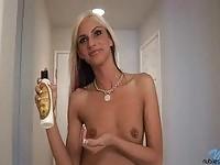 Skinny blonde Christina exposing tits