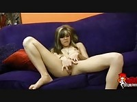 Sweet hot teen masturbating on the couch