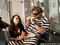 Blonde and brunette girls fuck in jail