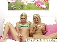 Little Summer masterbates with her blonde friend