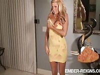 Busty blonde Ember sucking