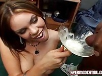 Lovely Gia drinking cum