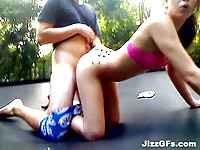 Jumping around young slut gets nailed