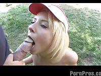 Pretty golf slut fucks a geezer