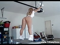 Amateur blonde Tiffany strips in garage