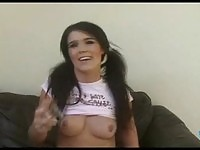Pierced boob Anna masturbates her pussy