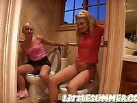 Two blondes pee