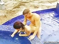 Brandi in pool sex action