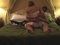 Slutty blonde gets drilled out on bed